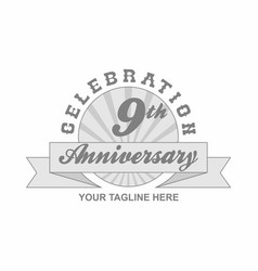 9 th anniversary grey shine background vector