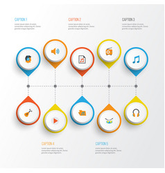 Audio flat icons set collection of media vector