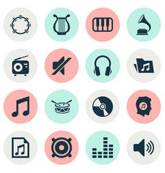 Audio icons set collection of tuner barrel lyre vector