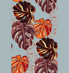 Autumn fall monstera leaves plant seamless vector
