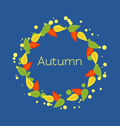 Autumn round frame of red yellow green orange vector