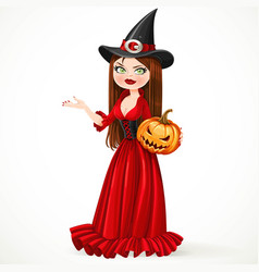 beautiful witch in a red dress holding a pumpkin vector image