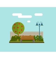 Bench under a tree in the park Flat style vector image