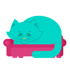big cat on couch asleep huge pet on sofa vector image