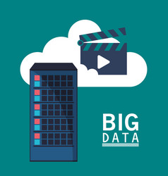 Big data cloud video play vector
