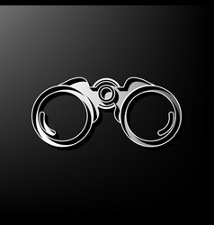 Binocular sign gray 3d vector