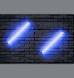 Blue neon lamp on black brick wall vector