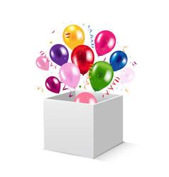 Box and balloons vector