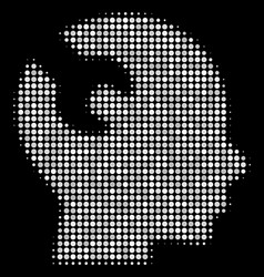 Brain wrench tool halftone icon vector