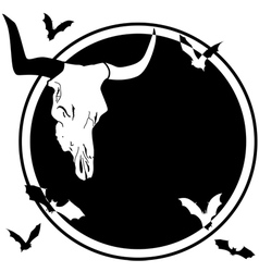 Bull skull and bats vector