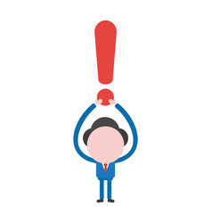 businessman character holding up exclamation mark vector image