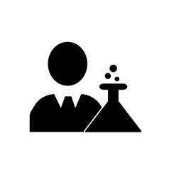Businessman in a lab flask experimentation symbol vector