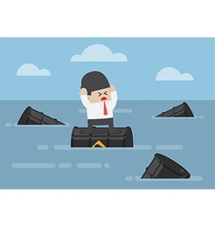 Businessman standing on oil barrels in the ocean vector image