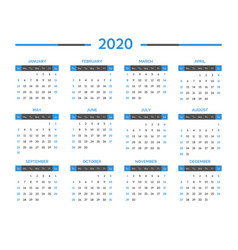 calendar for 2020 year time management and vector image