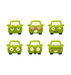 car emoticons set cute green car cartoon vector image