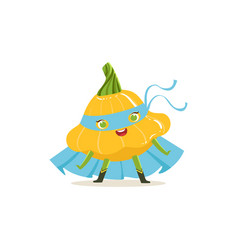 Cartoon character of superhero pattypan squash vector