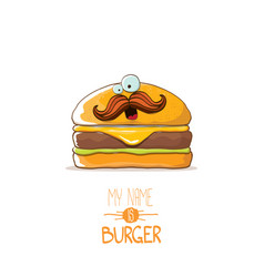 Cartoon cute burger character with cheese vector