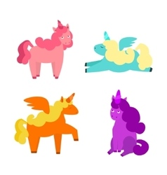 Cartoon Cute Unicorns Set vector image
