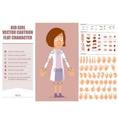 Cartoon flat doctor kid girl character set vector