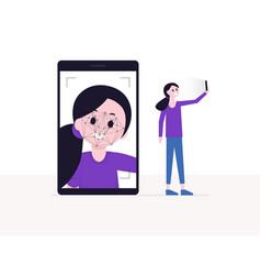 cartoon girl taking selfie on smartphone vector image
