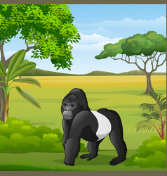 cartoon gorilla in savannah vector image