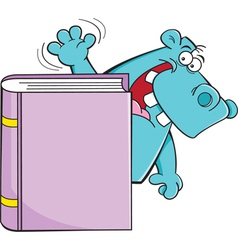 Cartoon Hippo Behind a Book vector