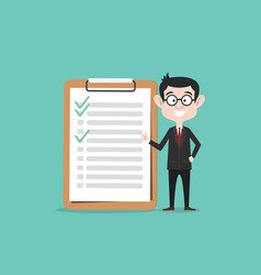 checklist business man with clipboard and checked vector image