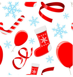 christmas decorations red 3d elements and blue vector image