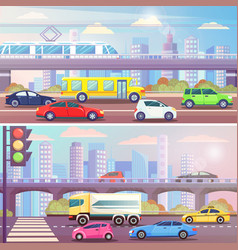 City street with traffic transport set vector