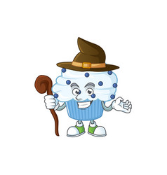 Cute and sneaky witch vanilla blue cupcake cartoon vector