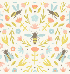 Cute flowers and bees vector