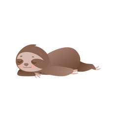 cute lazy sloth sleeping - adorable jungle animal vector image