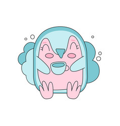 Cute pink and blue penguin sitting against fluffy vector