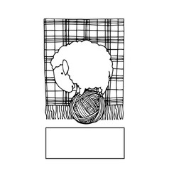 Cute sheep on ball thread logo knitting vector