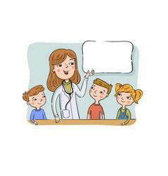 doctor talk to children vector image