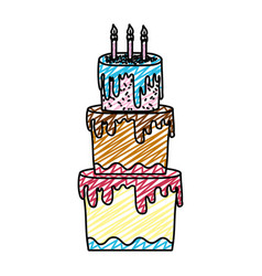 Doodle big cake with three floors style vector