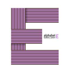 E - unique alphabet design with basketry pattern vector
