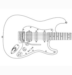 Electric guitar outlines vector