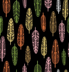 Ethnic Geometrical Feather seamless background vector