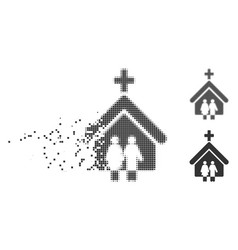 Family church broken pixel halftone icon vector