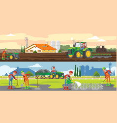 Farming and agriculture horizontal banners vector