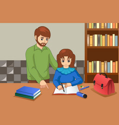 Father helping his daughter doing homework vector