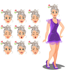 Female avatar expressions vector