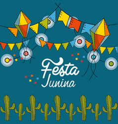 Festa junina with flags party and chain bulbs with vector