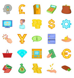 Financial resources icons set cartoon style vector