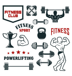 Fitness sport club gym and bodybuilding icon set vector