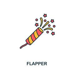 flapper with confetti icon creative 2 colors vector image