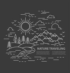flat line style travel banner vector image