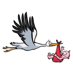 flying stork with baby vector image
