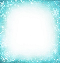 Frame of snowflakes on a watercolor turquoise vector image